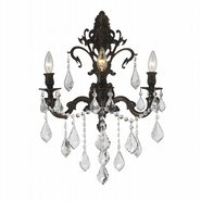 W23316F17 Versailles 3 Light Flemish Brass Finish and Clear Crystal Wall Sconce Light