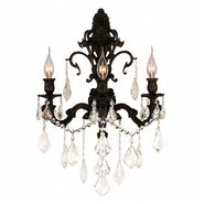 W23316F17-GT Versailles 3 light Flemish Brass Finish and Golden Teak Crystal Wall Sconce