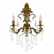 Versailles 3 Light French Gold Finish and Clear Crystal Wall Sconce