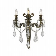 W23317B15 Versailles 3 Light Antique Bronze Finish and Clear Crystal Wall Sconce Light