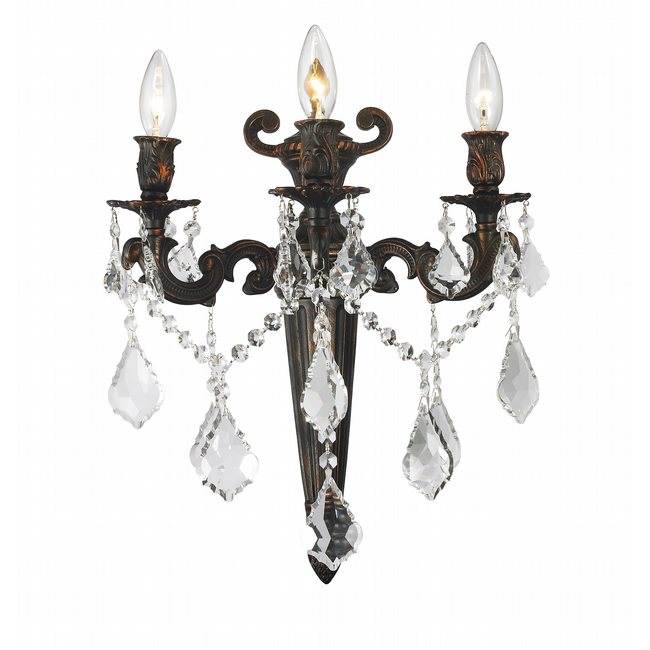 W23317F15 Versailles 3 light Flemish Brass Finish with Clear Crystal Wall Sconce