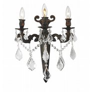 Versailles 3 light Flemish Brass Finish with Clear Crystal Wall Sconce