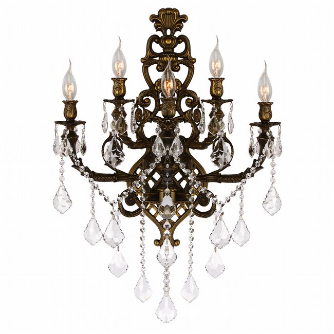 W23318b19 versailles 5 light antique bronze finish crystal wall w23318b19 versailles 5 light antique bronze finish crystal wall sconce light aloadofball Gallery