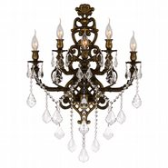 W23318B19 Versailles 5 Light Antique Bronze Finish Crystal Wall Sconce Light