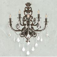W23318F19 Versailles 5 Light Flemish Brass Finish and Clear Crystal Wall Sconce Light