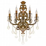 W23318FG19-GT Versailles 5 light French Gold Finish and Golden Teak Crystal Wall Sconce Light