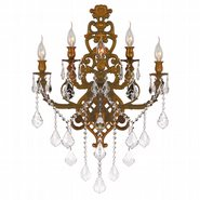 Versailles 5 light French Gold Finish and Clear Crystal Wall Sconce Light