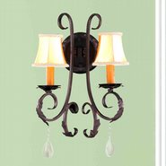 W23363F13 Abigail 2 Light Flemish Brass Finish and Clear Crystal Wall Sconce Light - Discontinued