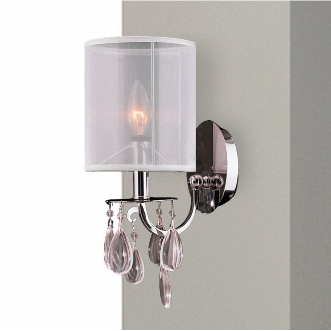 W23366C6 Gatsby Vanity 1 Light Chrome Finish with Clear Crystal Wall Sconce with White Organza Shade