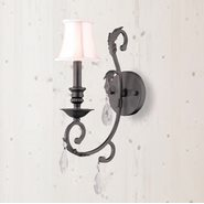 W23363F6-CL Abigail 1 Light Flemish Brass Finish and Clear Crystal Wall Sconce - Discontinued