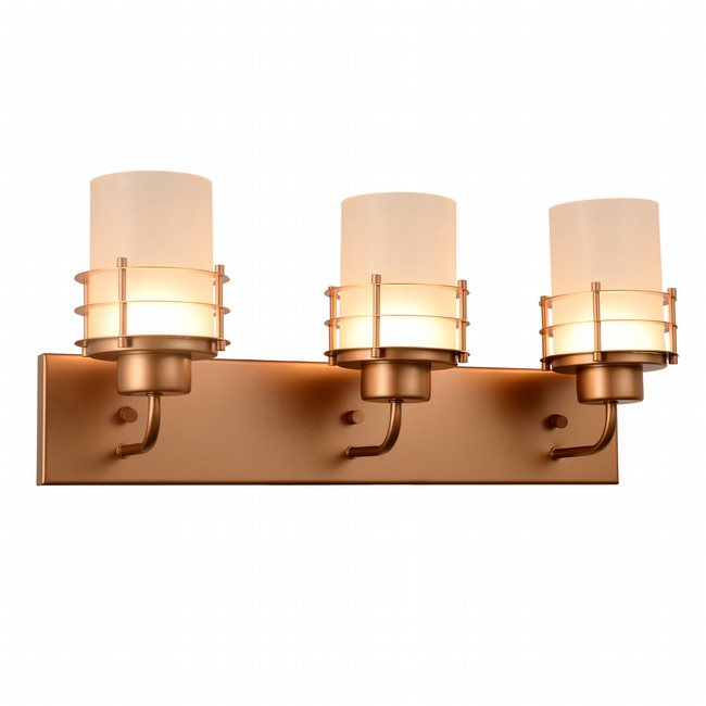 w23456mg22 Potomac 3 Light Matte Gold Finish LED Wall Sconce