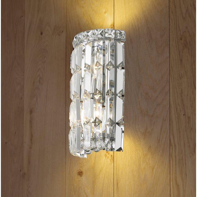 WC Cascade Light Chrome Finish With Clear Crystal Wall Sconce - 2 light bathroom sconce