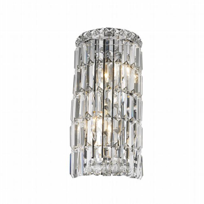W23511C8 Cascade 2 Light Chrome Finish with Clear Crystal Wall Sconce