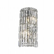 Cascade Collection 2 Light Chrome Finish with Clear Crystal Wall Sconce
