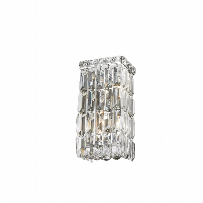 W23521C6 Cascade 2 Light Chrome Finish with Clear Crystal Wall Sconce