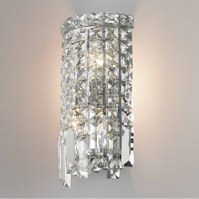 W23610C6 Cascade 2 Light Chrome Finish Crystal Wall Sconce Light