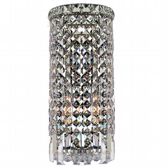 W23611C8 Cascade 2 Light Chrome Finish and Clear Crystal Wall Sconce Light