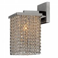 Prism Collection 1 Light Chrome Finish and Clear Crystal Wall Sconce Light