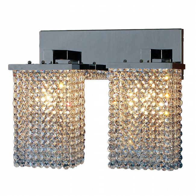 W23766C15 Prism 2 Light Chrome Finish and Clear Crystal Wall Sconce Light - Discontinued