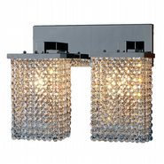 W23766C15 Prism 2 Light Chrome Finish and Clear Crystal Wall Sconce Light