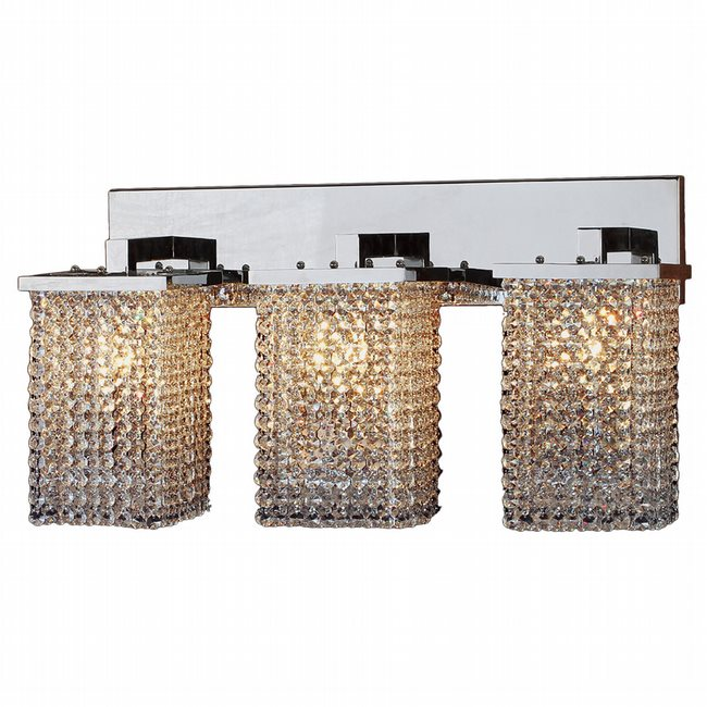 W23767C25 Prism 3 Light Chrome Finish and Clear Crystal Wall Sconce Light - Discontinued