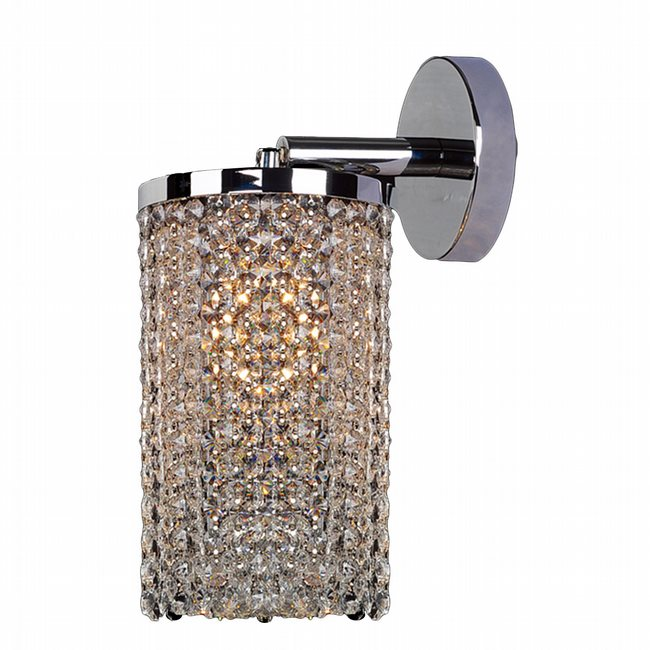 W23768C6 Prism 1 Light Chrome Finish with Clear Crystal Wall Sconce Light Swing Arm