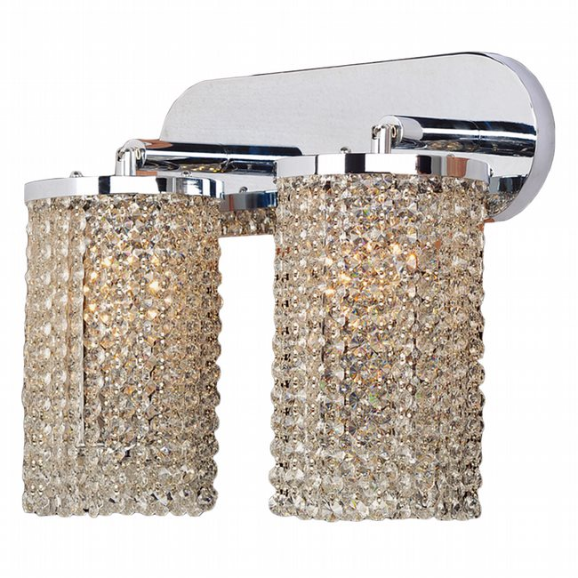 W23769C15 Prism 2 Light Chrome Finish and Clear Crystal Wall Sconce Light Swing Arm - Discontinued