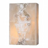 W23806F8 Pompeii 1 light Flemish Brass Finish Natural Quartz Wall Sconce