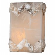 W23810F8 Pompeii 1 Light Flemish Brass Finish Natural Quartz Wall Sconce - Discontinued