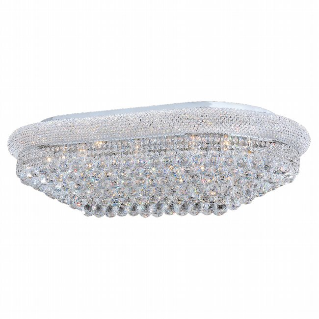 W33007C40 Empire 24 Light Chrome Finish and Clear Crystal Flush Mount Ceiling Light