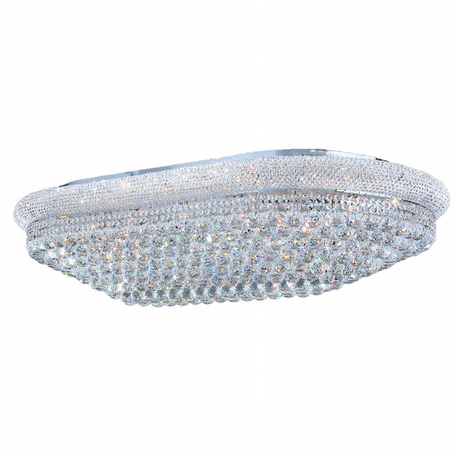 W33007C48 Empire 28 Light Chrome Finish and Clear Crystal Flush Mount Ceiling Light