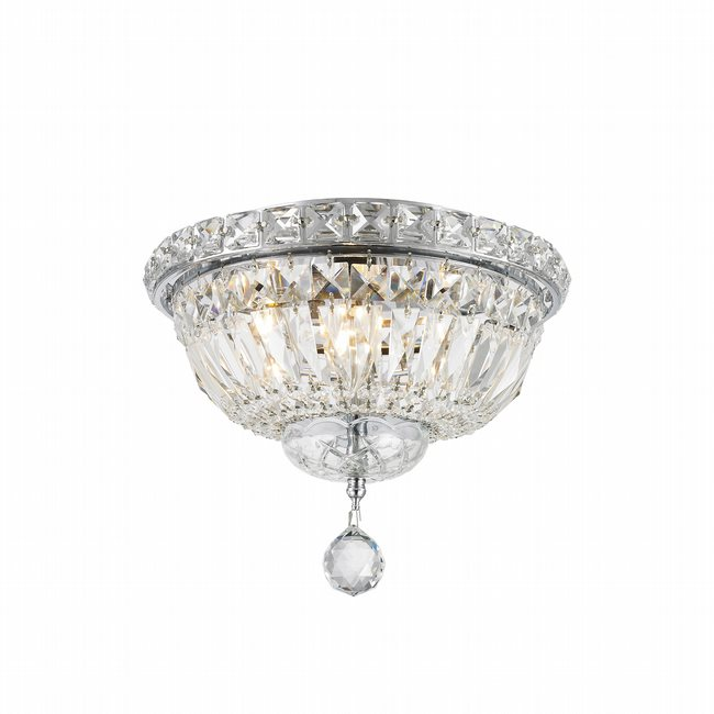 W33008C10 Empire 4 Light Chrome Finish and Clear Crystal Flush Mount Ceiling Light