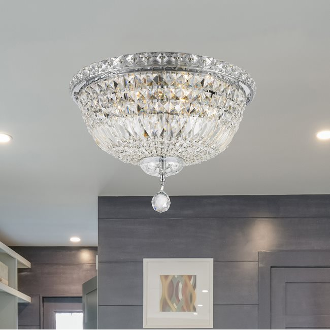 W33008C16 Empire 6 Light Chrome Finish and Clear Crystal Flush Mount Ceiling Light