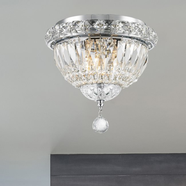 W33008C8 Empire 3 light Chrome Finish with Clear Crystal Ceiling Light