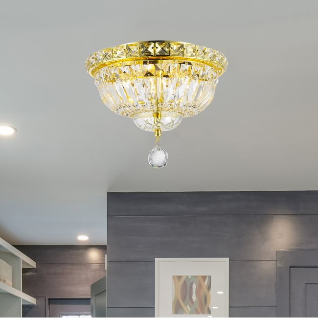W33008G10 Empire 4 Light Gold Finish and Clear Crystal Flush Mount Ceiling Light