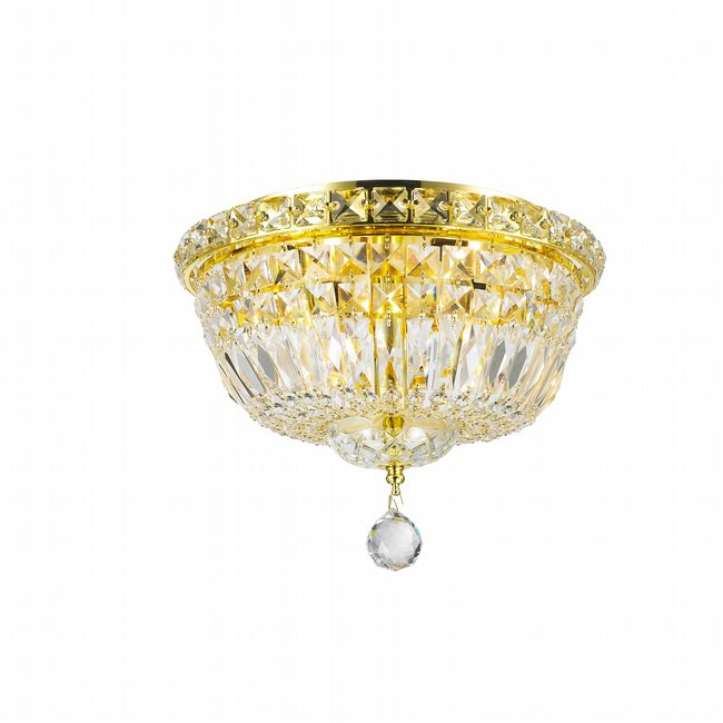 W33008G12 Empire 4 light Gold Finish with Clear Crystal Ceiling Light