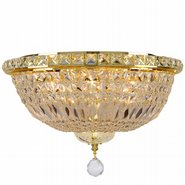 Empire Collection 6 Light Gold Finish and Clear Crystal Flush Mount Ceiling Light