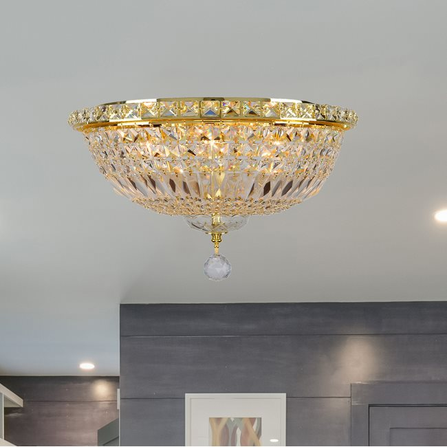 W33008G16 Empire 6 Light Gold Finish and Clear Crystal Flush Mount Ceiling Light