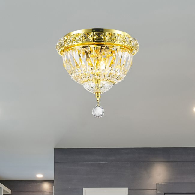 W33008G8 Empire 3 Light Gold Finish and Clear Crystal Flush Mount Ceiling Light