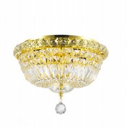 Empire Collection 4 Light Gold Finish and Clear Crystal Flush Mount Ceiling Light