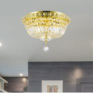 W33009G14 Empire 4 Light Gold Finish and Clear Crystal Flush Mount Ceiling Light