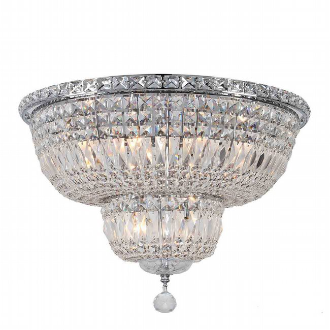 W33010C20 Empire 10 Light Chrome Finish and Clear Crystal Flush Mount Ceiling Light