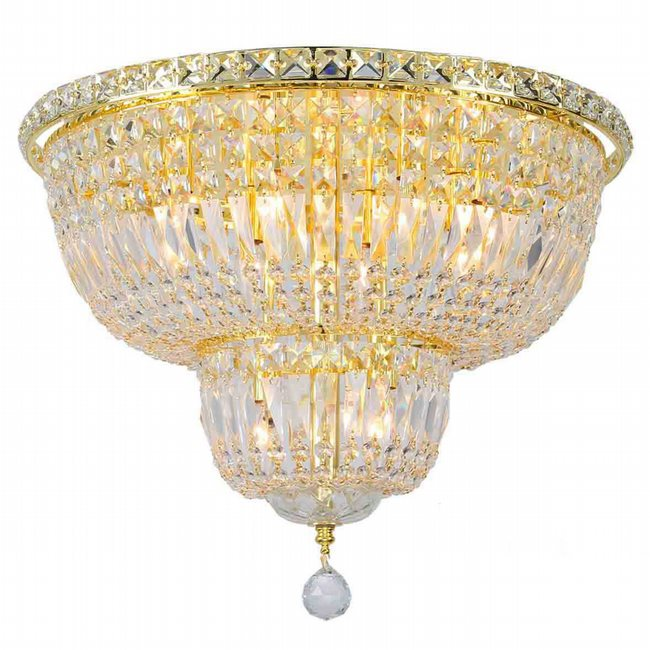 W33010G20 Empire 10 Light Gold Finish and Clear Crystal Flush Mount Ceiling Light