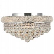 W33011C16 Empire 8 Light Chrome Finish and Clear Crystal Flush Mount Ceiling Light