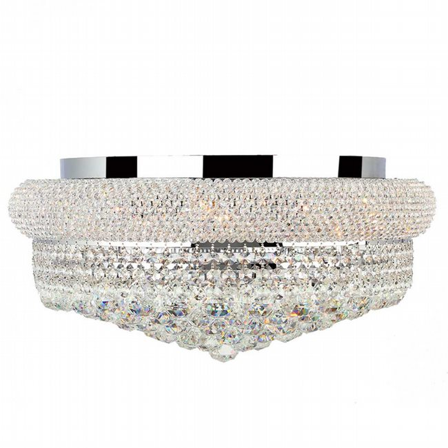 W33011C20 Empire 10 light Chrome Finish with Clear Crystal Flush Mount Ceiling Light