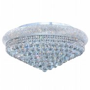 W33011C28 Empire 15 Light Chrome Finish and Clear Crystal Flush Mount Ceiling Light