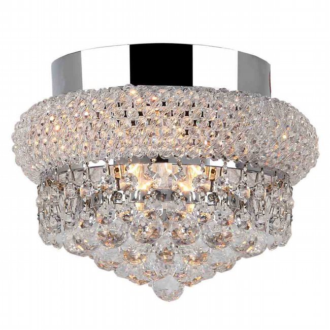 W33011C8 Empire 3 Light Chrome Finish and Clear Crystal Flush Mount Ceiling Light