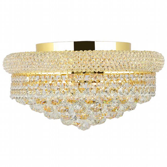 W33011G16 Empire 8 Light Gold Finish and Clear Crystal Flush Mount Ceiling Light