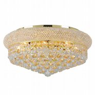 W33011G20 Empire 10 Light Gold Finish and Clear Crystal Flush Mount Ceiling Light