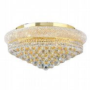 W33011G24 Empire 12 Light Gold Finish and Clear Crystal Flush Mount Ceiling Light